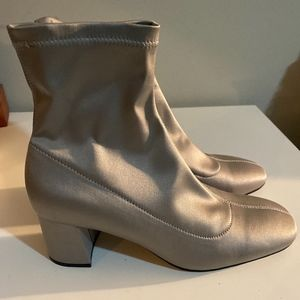 Sock Style Space Silver Satin Ankle Boots